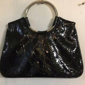 Handbags - Black Gator Print Handbag